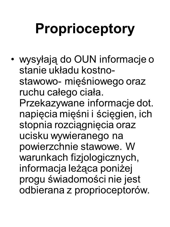 Proprioceptory wysyłają do OUN informacje o stanie układu kostno- stawowo- mięśniowego oraz ruchu całego ciała. Przekazywane informacje dot. napięcia