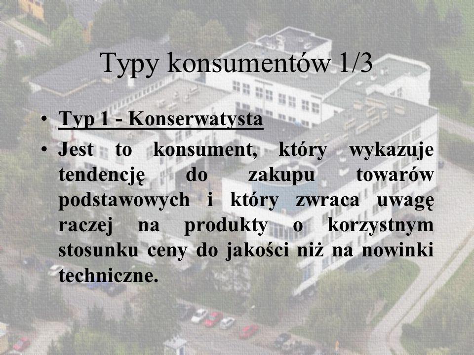 Typy konsumentów 2/3 Typ 2 - Naśladowca To konsument, który jest zainteresowany nowościami technicznymi na rynku, ale nie ryzykuje zakupu, czekając na wybór innowatora.
