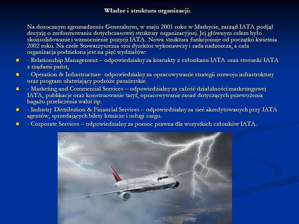Władze i struktura organizacji: Na dorocznym zgromadzeniu Generalnym, w maju 2001 roku w Madrycie, zarząd IATA podjął decyzję o zreformowaniu dotychczasowej struktury organizacyjnej.