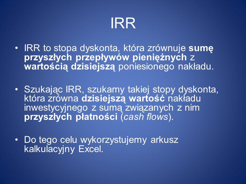 IRR IRR to stopa dyskonta, która zrównuje sumę przyszłych przepływów pieniężnych z wartością dzisiejszą poniesionego nakładu. Szukając IRR, szukamy ta