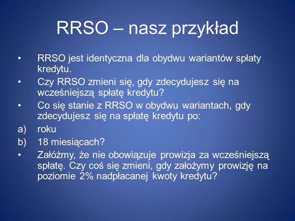 RRSO – nasz przykład RRSO jest identyczna dla obydwu wariantów spłaty kredytu. Czy RRSO zmieni się, gdy zdecydujesz się na wcześniejszą spłatę kredytu