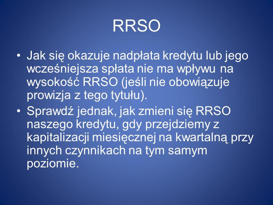 RRSO Jak się okazuje nadpłata kredytu lub jego wcześniejsza spłata nie ma wpływu na wysokość RRSO (jeśli nie obowiązuje prowizja z tego tytułu). Spraw