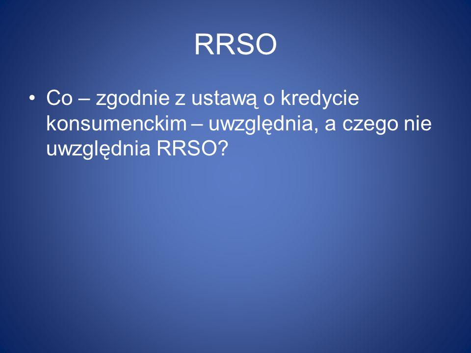 RRSO Co – zgodnie z ustawą o kredycie konsumenckim – uwzględnia, a czego nie uwzględnia RRSO?