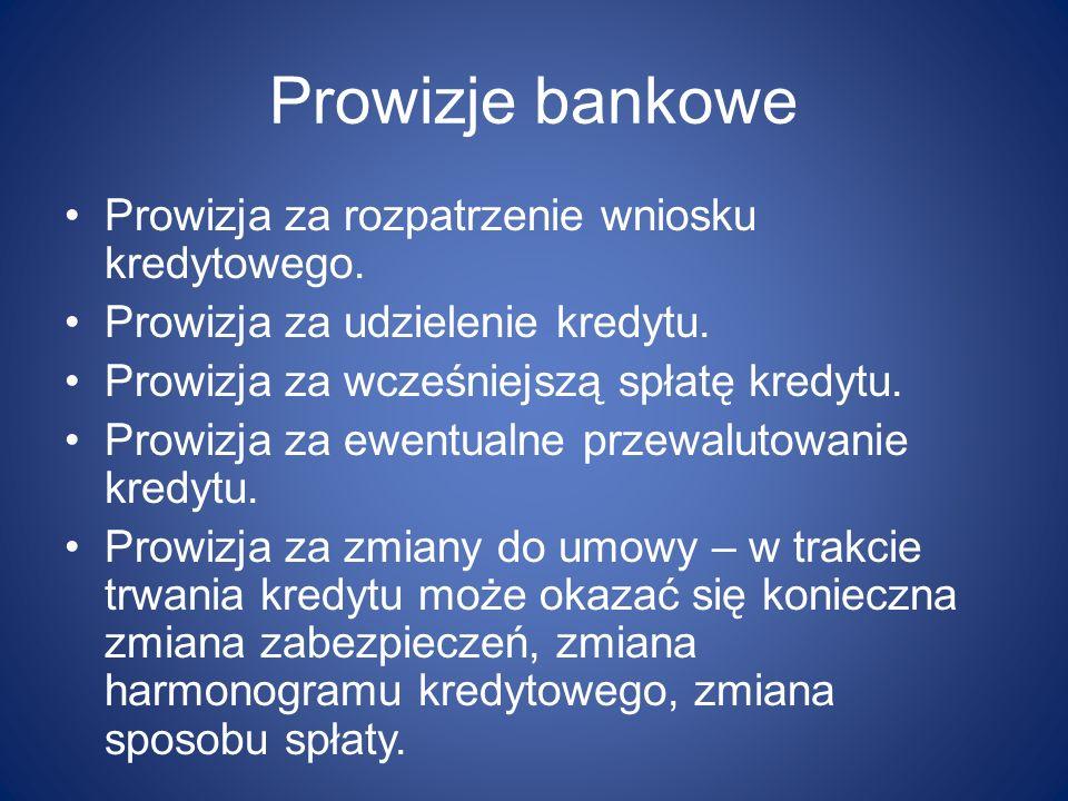 Prowizje bankowe Prowizja za rozpatrzenie wniosku kredytowego. Prowizja za udzielenie kredytu. Prowizja za wcześniejszą spłatę kredytu. Prowizja za ew