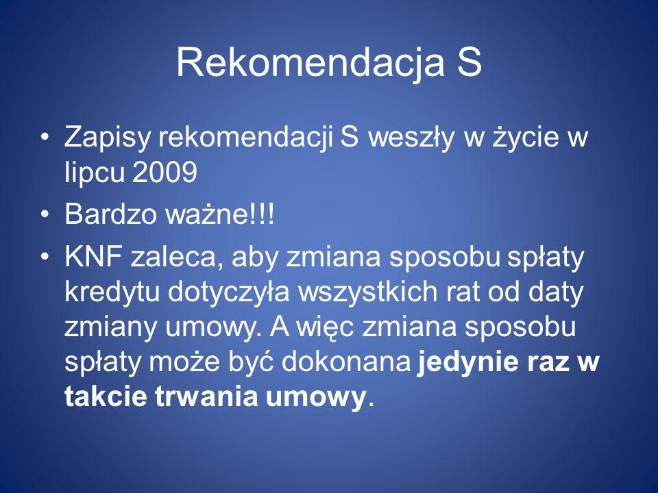 Rekomendacja S Zapisy rekomendacji S weszły w życie w lipcu 2009 Bardzo ważne!!! KNF zaleca, aby zmiana sposobu spłaty kredytu dotyczyła wszystkich ra
