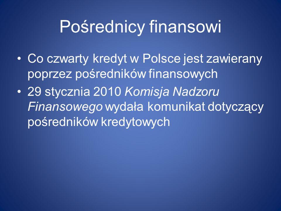 Pośrednicy finansowi Co czwarty kredyt w Polsce jest zawierany poprzez pośredników finansowych 29 stycznia 2010 Komisja Nadzoru Finansowego wydała kom