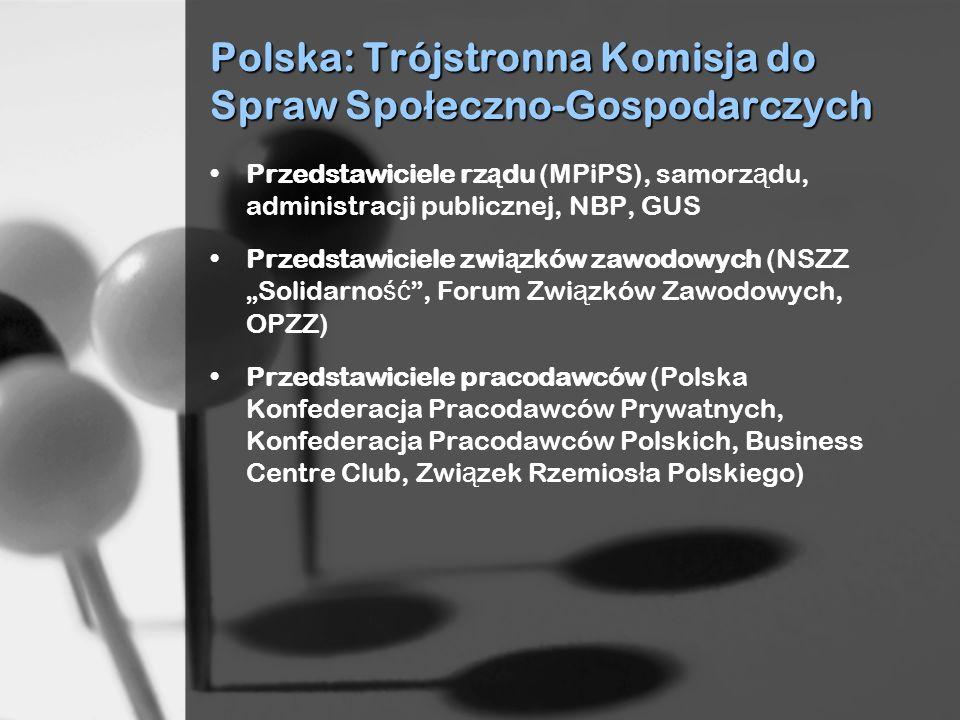 Polska: Trójstronna Komisja do Spraw Spo ł eczno-Gospodarczych Przedstawiciele rz ą du (MPiPS), samorz ą du, administracji publicznej, NBP, GUS Przeds