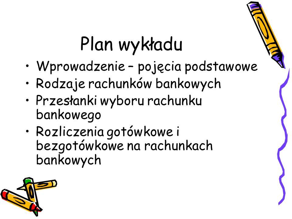 Plan wykładu Wprowadzenie – pojęcia podstawowe Rodzaje rachunków bankowych Przesłanki wyboru rachunku bankowego Rozliczenia gotówkowe i bezgotówkowe n