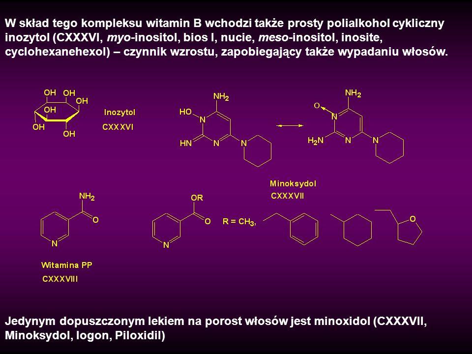 W skład tego kompleksu witamin B wchodzi także prosty polialkohol cykliczny inozytol (CXXXVI, myo-inositol, bios I, nucie, meso-inositol, inosite, cyc