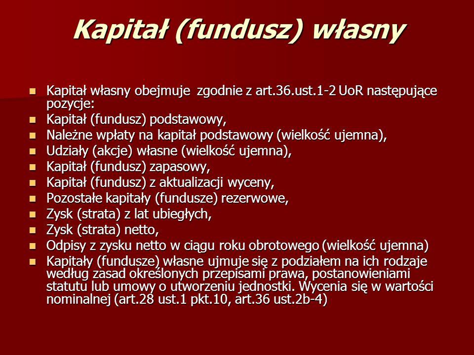 Kapitał (fundusz) własny Kapitał własny obejmuje zgodnie z art.36.ust.1-2 UoR następujące pozycje: Kapitał własny obejmuje zgodnie z art.36.ust.1-2 Uo