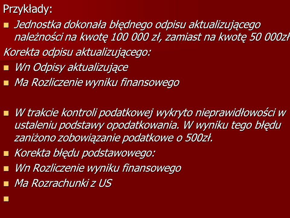 Przykłady: Jednostka dokonała błędnego odpisu aktualizującego należności na kwotę 100 000 zł, zamiast na kwotę 50 000zł Jednostka dokonała błędnego od