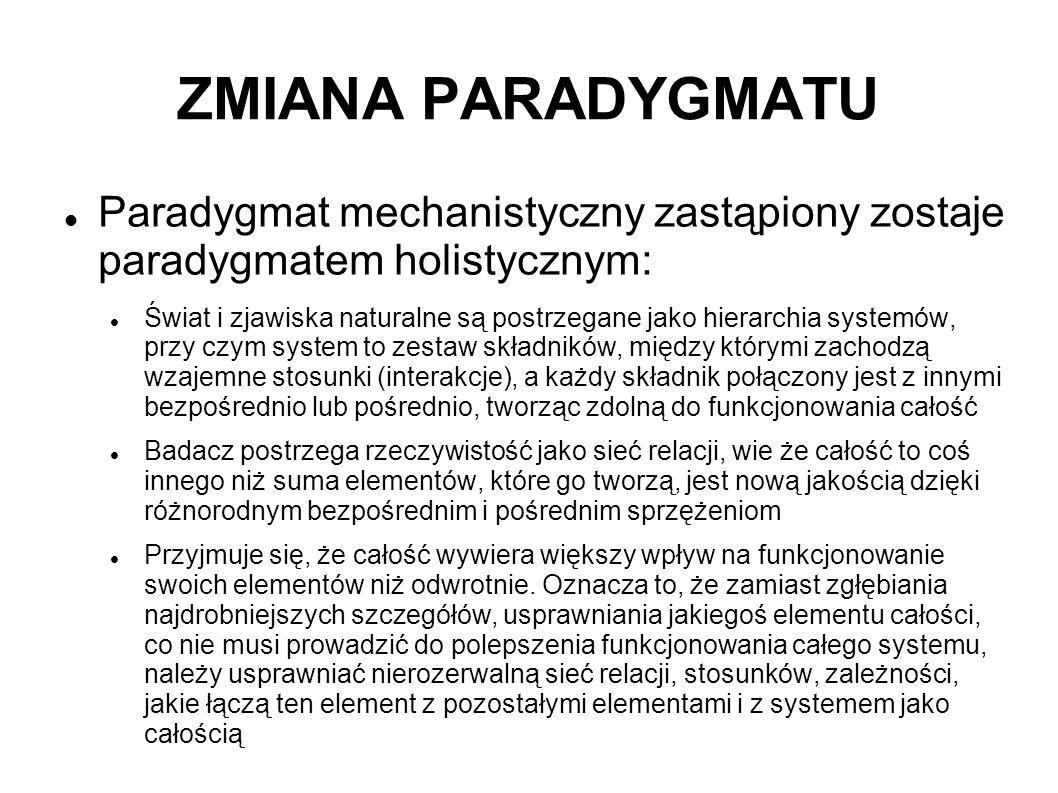 ZMIANA PARADYGMATU Paradygmat mechanistyczny zastąpiony zostaje paradygmatem holistycznym: Świat i zjawiska naturalne są postrzegane jako hierarchia s