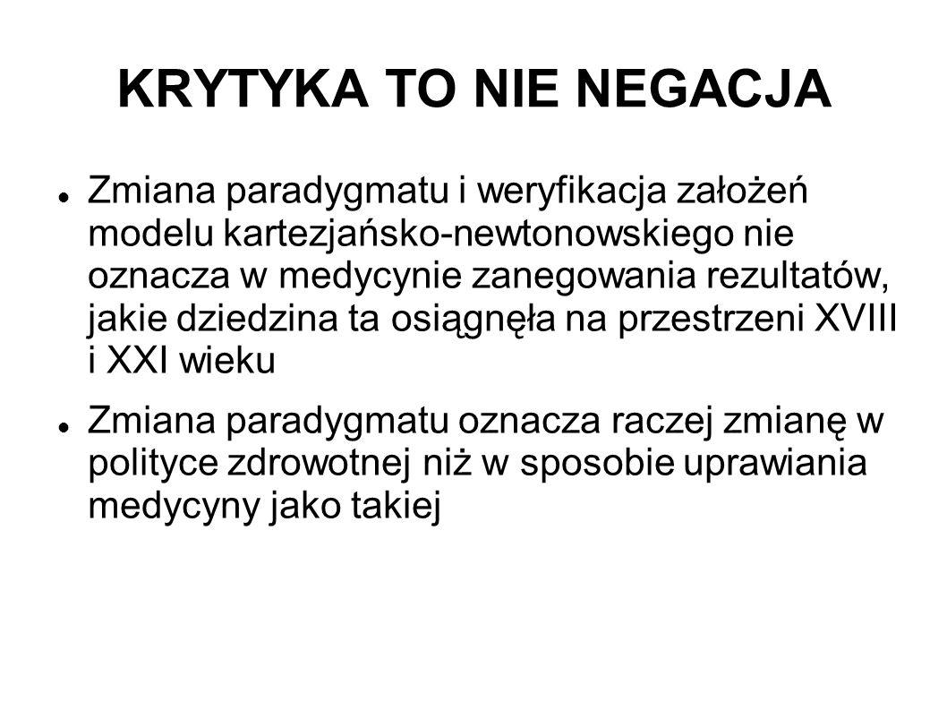 KRYTYKA TO NIE NEGACJA Zmiana paradygmatu i weryfikacja założeń modelu kartezjańsko-newtonowskiego nie oznacza w medycynie zanegowania rezultatów, jak