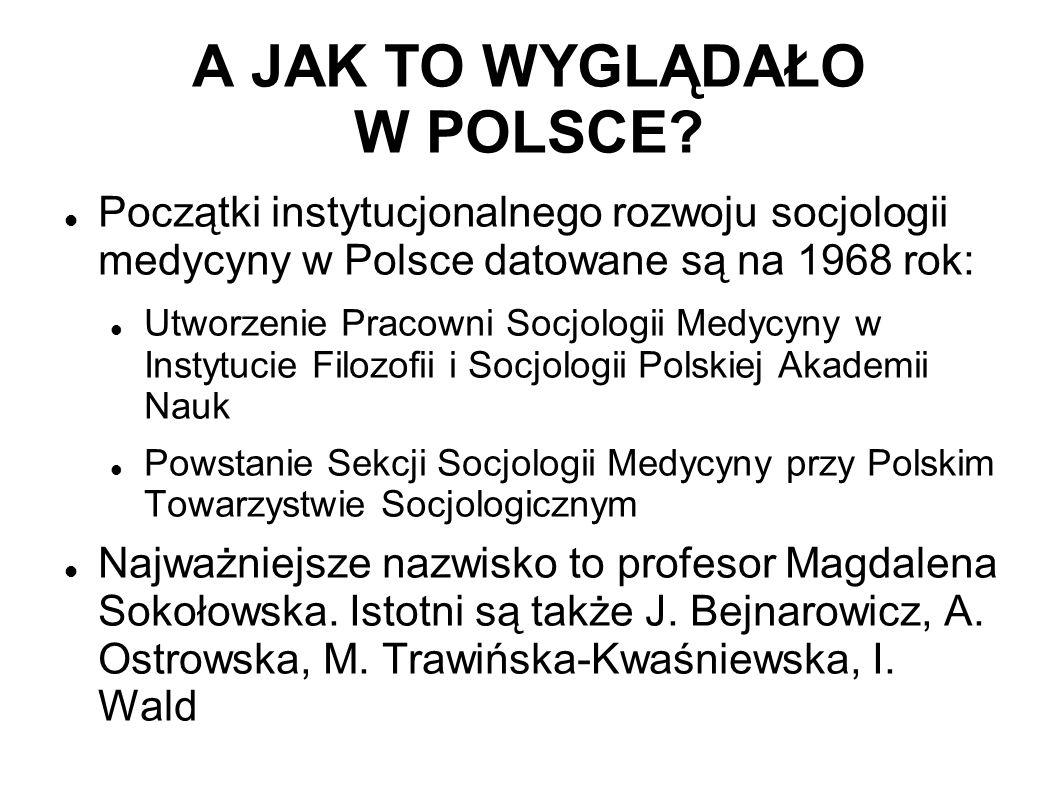 A JAK TO WYGLĄDAŁO W POLSCE? Początki instytucjonalnego rozwoju socjologii medycyny w Polsce datowane są na 1968 rok: Utworzenie Pracowni Socjologii M
