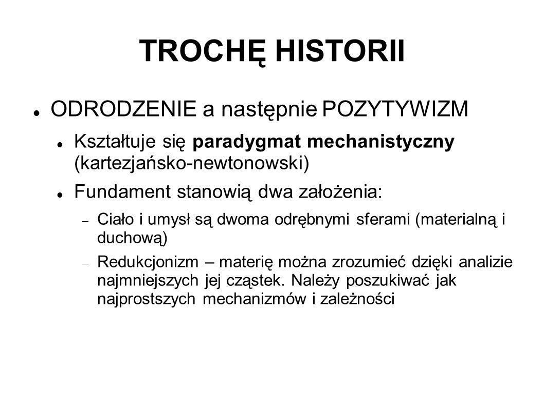 TROCHĘ HISTORII ODRODZENIE a następnie POZYTYWIZM Kształtuje się paradygmat mechanistyczny (kartezjańsko-newtonowski) Fundament stanowią dwa założenia