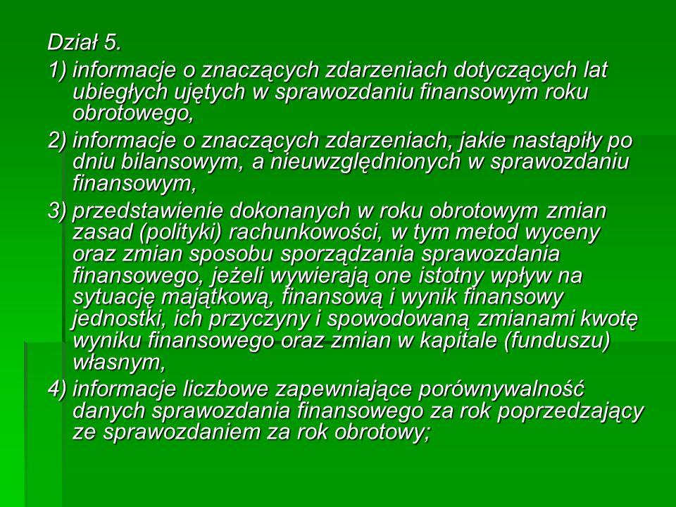 Dział 5. 1)informacje o znaczących zdarzeniach dotyczących lat ubiegłych ujętych w sprawozdaniu finansowym roku obrotowego, 2)informacje o znaczących