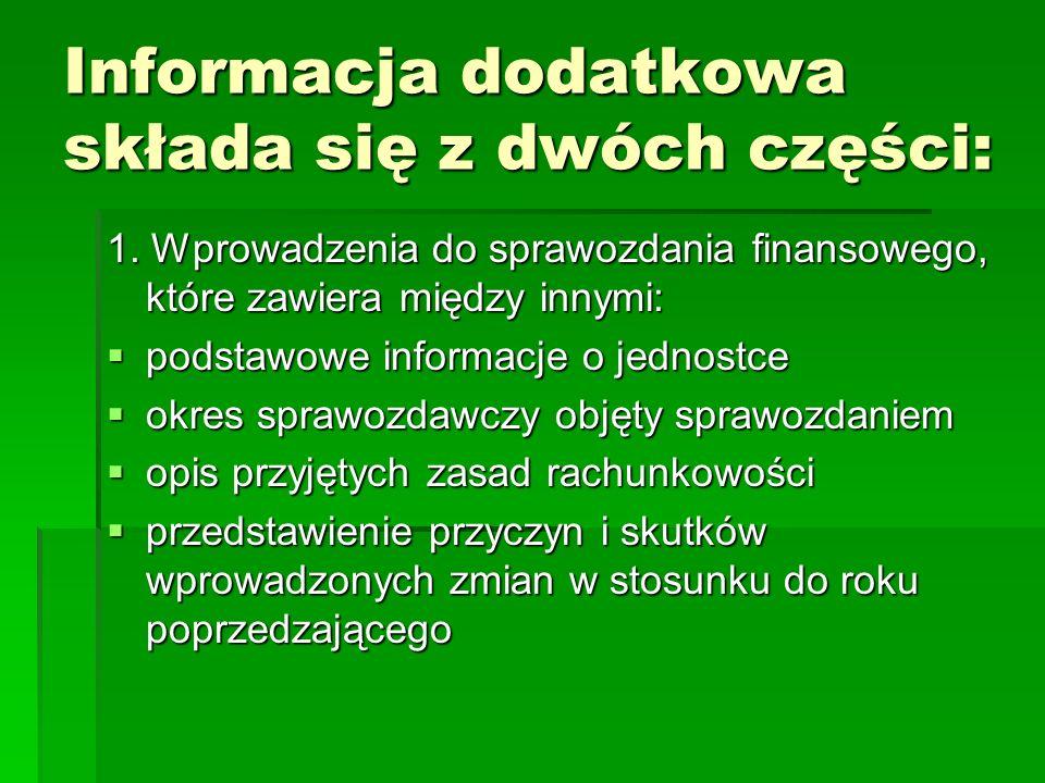 Informacja dodatkowa składa się z dwóch części: 1. Wprowadzenia do sprawozdania finansowego, które zawiera między innymi: podstawowe informacje o jedn