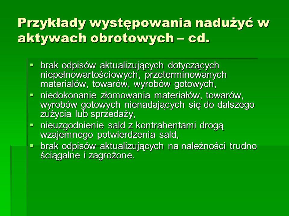 Przykłady występowania nadużyć w aktywach obrotowych – cd. brak odpisów aktualizujących dotyczących niepełnowartościowych, przeterminowanych materiałó