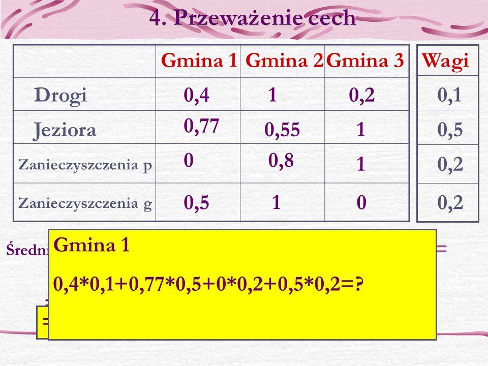 0,41 Gmina 1Gmina 2Gmina 3 Jeziora Zanieczyszczenia p Zanieczyszczenia g 0,2 0,55 0,77 1 0 00,5 0,8 1 1 Drogi 4.