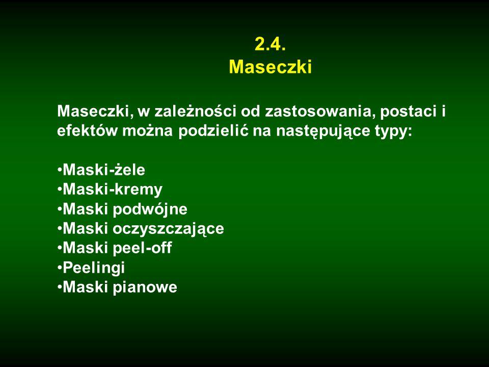 2.4. Maseczki Maseczki, w zależności od zastosowania, postaci i efektów można podzielić na następujące typy: Maski-żele Maski-kremy Maski podwójne Mas
