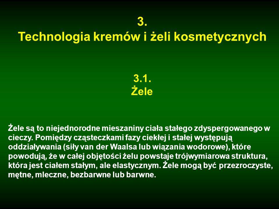 3. Technologia kremów i żeli kosmetycznych 3.1. Żele Żele są to niejednorodne mieszaniny ciała stałego zdyspergowanego w cieczy. Pomiędzy cząsteczkami