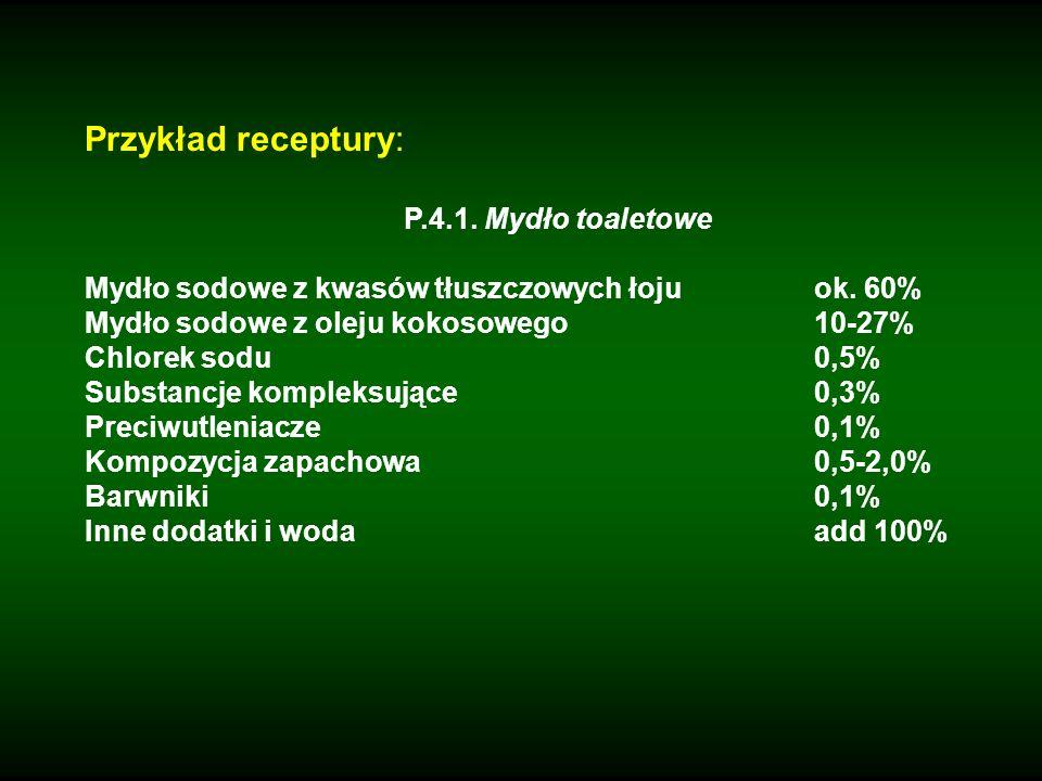 Przykład receptury: P.4.1. Mydło toaletowe Mydło sodowe z kwasów tłuszczowych łojuok. 60% Mydło sodowe z oleju kokosowego10-27% Chlorek sodu0,5% Subst