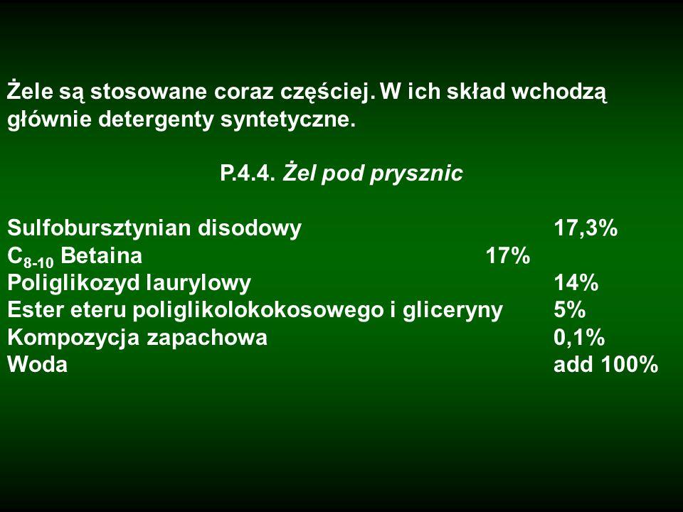 Żele są stosowane coraz częściej. W ich skład wchodzą głównie detergenty syntetyczne. P.4.4. Żel pod prysznic Sulfobursztynian disodowy17,3% C 8-10 