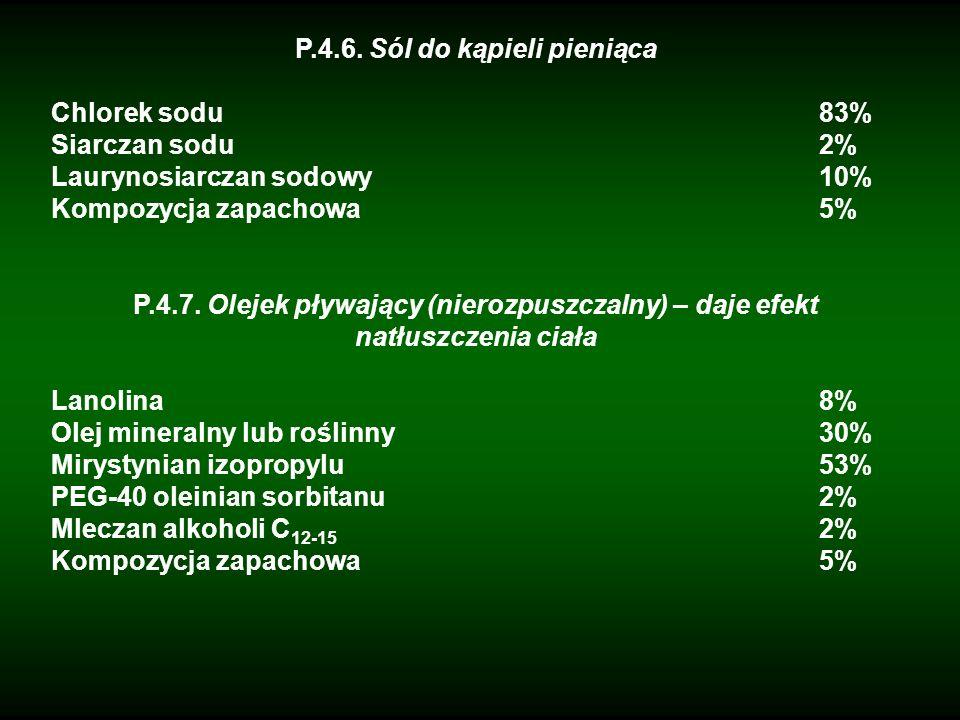 P.4.6. Sól do kąpieli pieniąca Chlorek sodu83% Siarczan sodu2% Laurynosiarczan sodowy10% Kompozycja zapachowa5% P.4.7. Olejek pływający (nierozpuszcza
