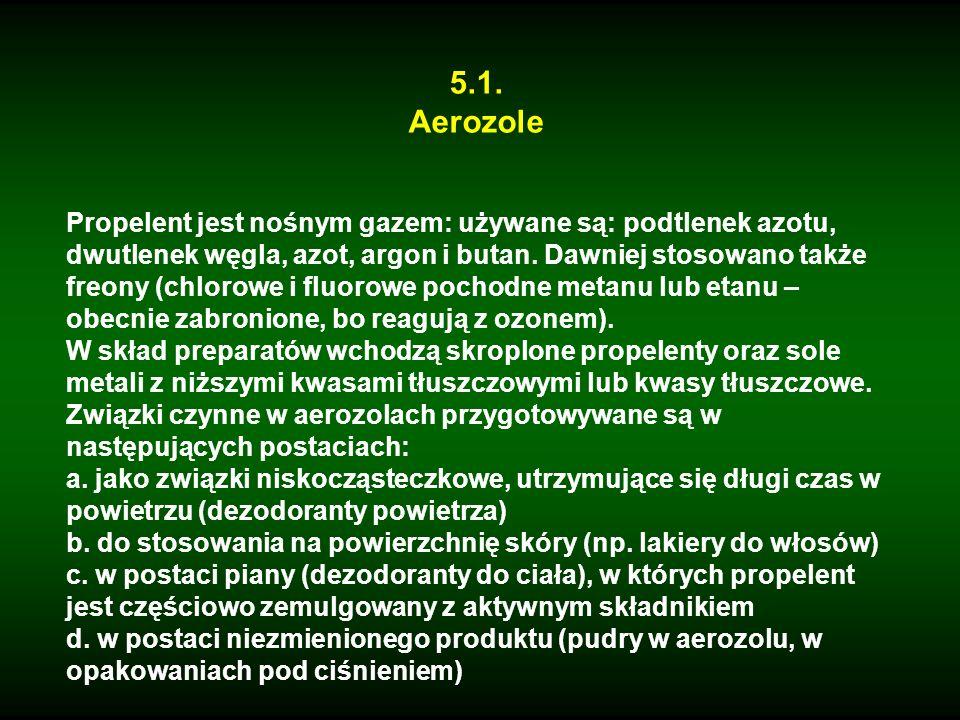 5.1. Aerozole Propelent jest nośnym gazem: używane są: podtlenek azotu, dwutlenek węgla, azot, argon i butan. Dawniej stosowano także freony (chlorowe