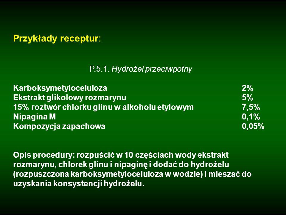Przykłady receptur: P.5.1. Hydrożel przeciwpotny Karboksymetyloceluloza2% Ekstrakt glikolowy rozmarynu5% 15% roztwór chlorku glinu w alkoholu etylowym