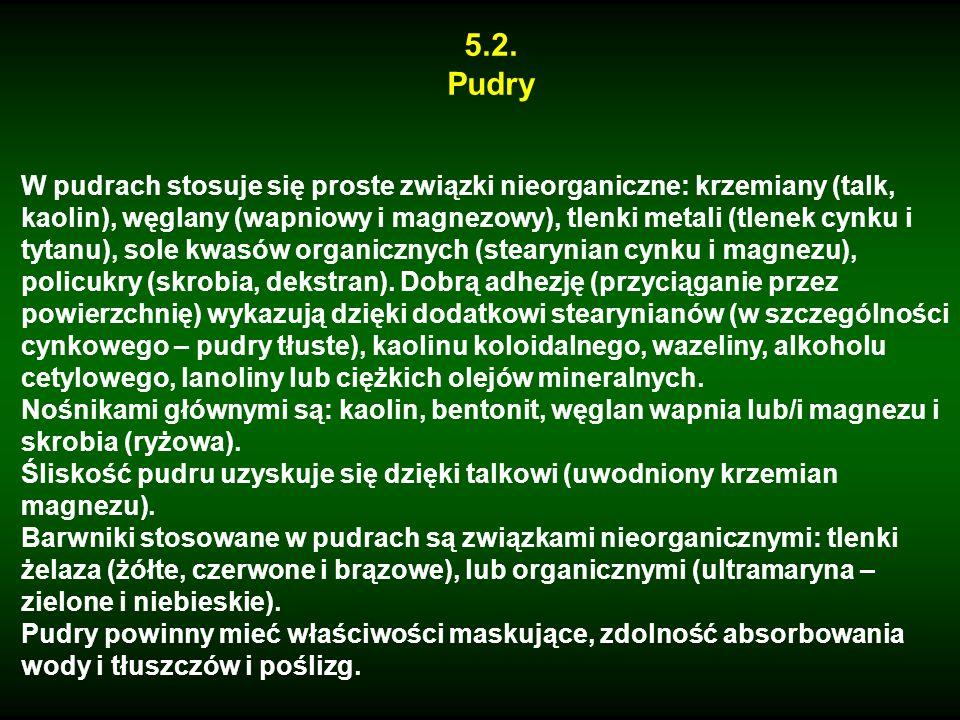 5.2. Pudry W pudrach stosuje się proste związki nieorganiczne: krzemiany (talk, kaolin), węglany (wapniowy i magnezowy), tlenki metali (tlenek cynku i