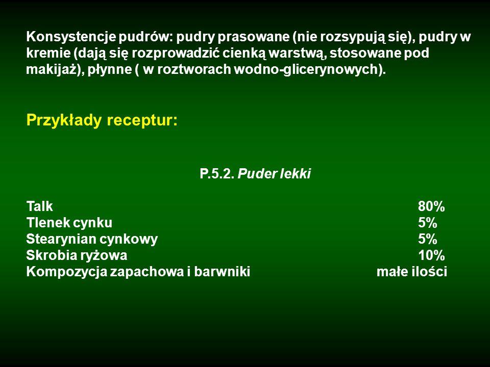 Konsystencje pudrów: pudry prasowane (nie rozsypują się), pudry w kremie (dają się rozprowadzić cienką warstwą, stosowane pod makijaż), płynne ( w roz
