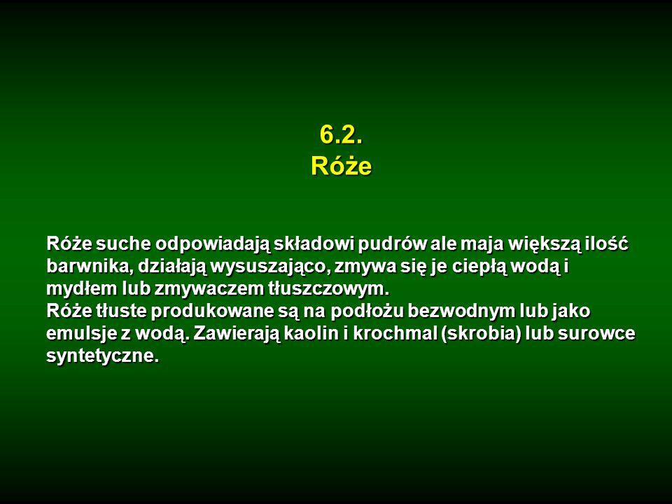 6.2.Róże Róże suche odpowiadają składowi pudrów ale maja większą ilość barwnika, działają wysuszająco, zmywa się je ciepłą wodą i mydłem lub zmywaczem