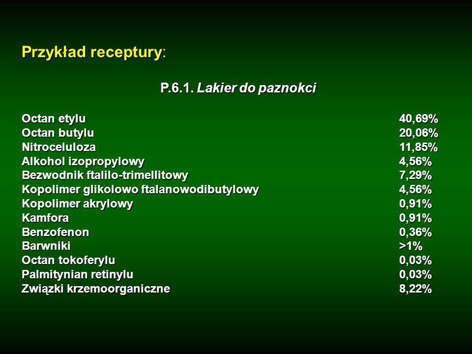 Przykład receptury: P.6.1. Lakier do paznokci Octan etylu40,69% Octan butylu20,06% Nitroceluloza 11,85% Alkohol izopropylowy 4,56% Bezwodnik ftalilo-t