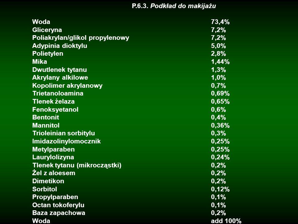 P.6.3. Podkład do makijażu Woda 73,4% Gliceryna7,2% Poliakrylan/glikol propylenowy7,2% Adypinia dioktylu5,0% Polietylen2,8% Mika1,44% Dwutlenek tytanu