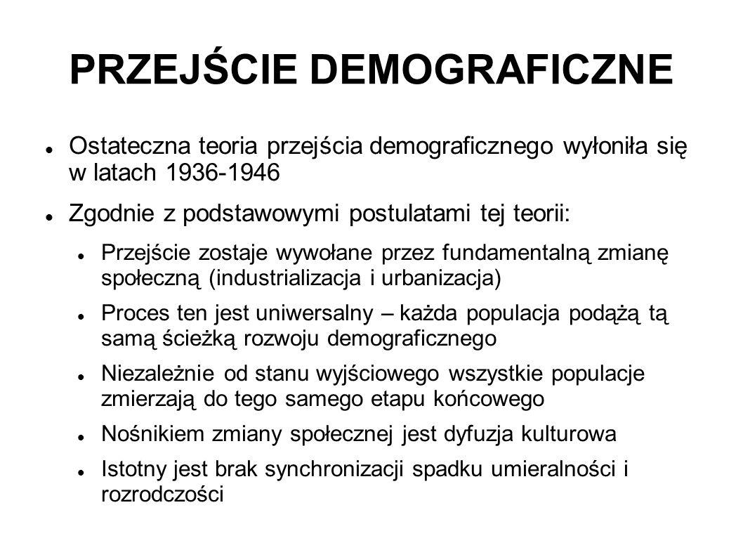 PRZEJŚCIE DEMOGRAFICZNE Ostateczna teoria przejścia demograficznego wyłoniła się w latach 1936-1946 Zgodnie z podstawowymi postulatami tej teorii: Prz