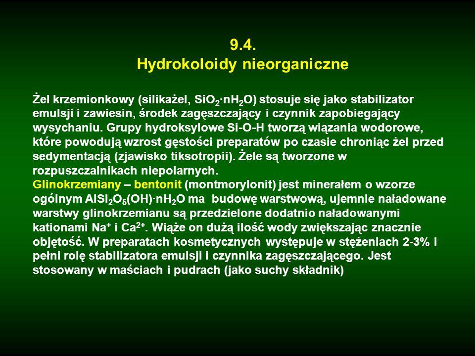 9.4. Hydrokoloidy nieorganiczne Żel krzemionkowy (silikażel, SiO 2 ·nH 2 O) stosuje się jako stabilizator emulsji i zawiesin, środek zagęszczający i c