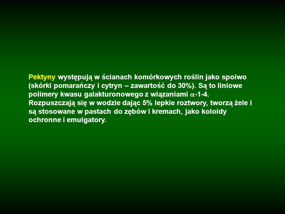 Pektyny występują w ścianach komórkowych roślin jako spoiwo (skórki pomarańczy i cytryn – zawartość do 30%). Są to liniowe polimery kwasu galakturonow