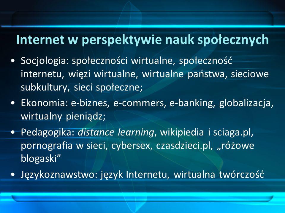 Internet w perspektywie nauk społecznych Socjologia: społeczności wirtualne, społeczność internetu, więzi wirtualne, wirtualne państwa, sieciowe subku
