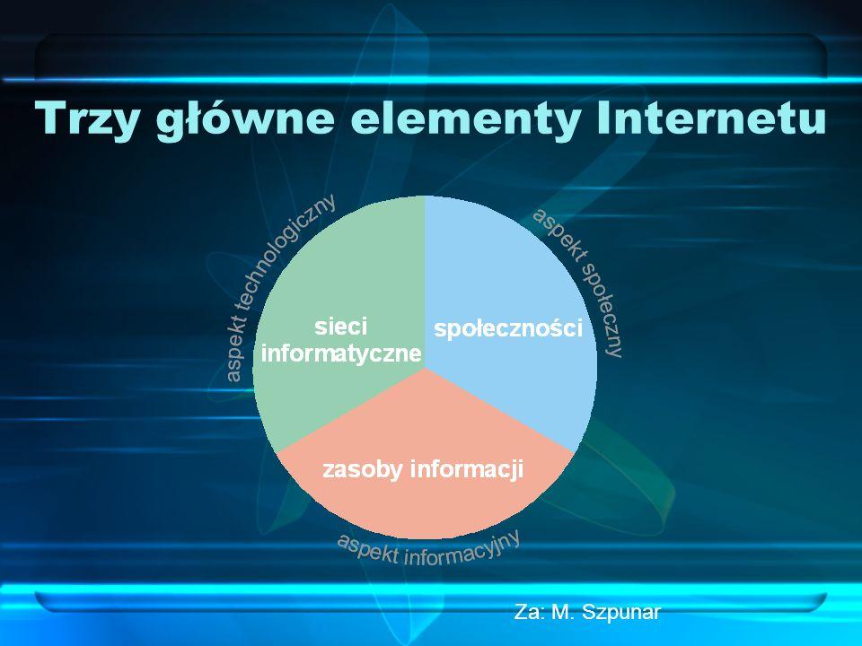 Definicja Globalna sieć (system informatyczny) łącząca lokalne sieci różnych systemów, oparta na przesyłaniu pakietów między serwerami w protokole TCP/IP (Transfer Control Protocol/Internet Protocol) Cechy podstawowe Internetu: 1.Otwartość 2.Najlepsza komunikacja między sieciami 3.Brak globalnej kontroli