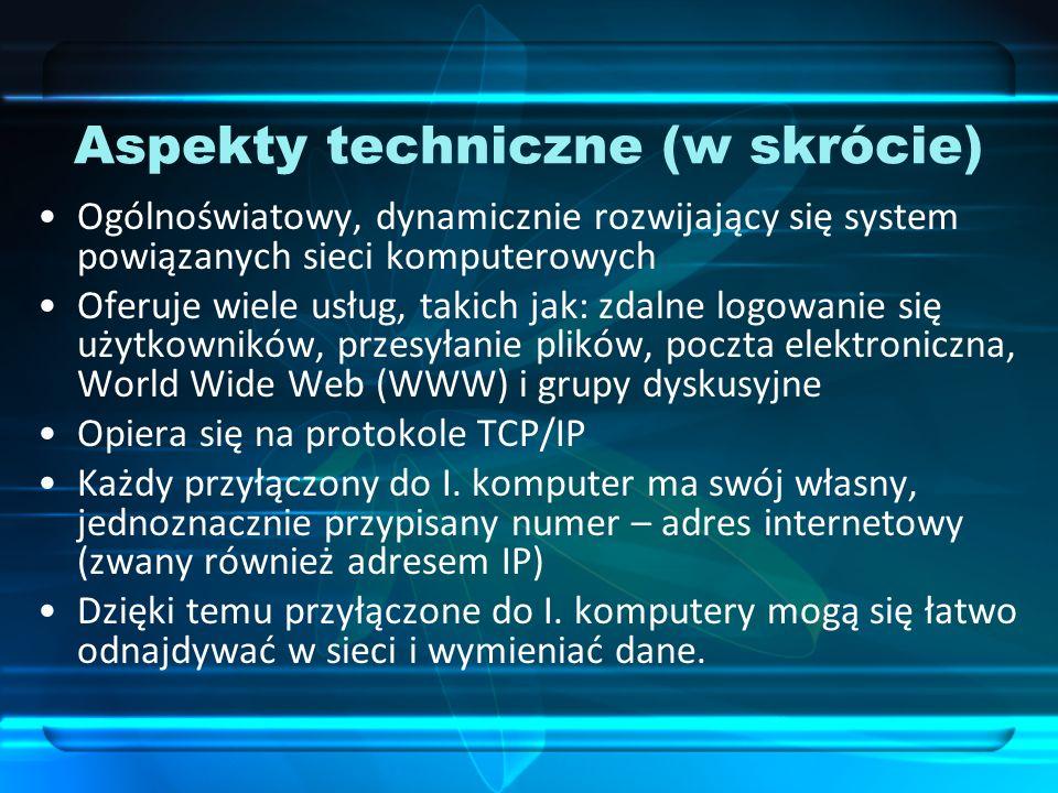 Aspekty techniczne (w skrócie) Ogólnoświatowy, dynamicznie rozwijający się system powiązanych sieci komputerowych Oferuje wiele usług, takich jak: zda