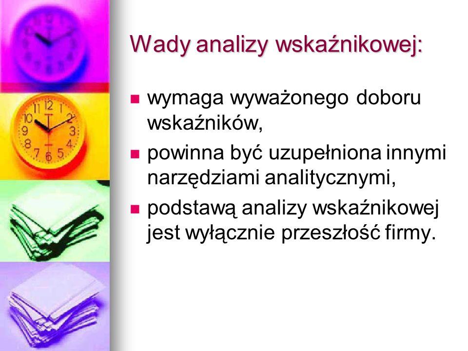 Wady analizy wskaźnikowej: wymaga wyważonego doboru wskaźników, powinna być uzupełniona innymi narzędziami analitycznymi, podstawą analizy wskaźnikowe