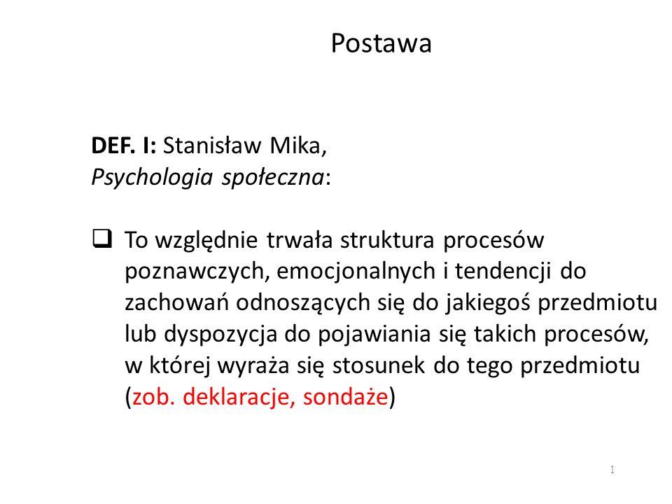1 Postawa DEF. I: Stanisław Mika, Psychologia społeczna: To względnie trwała struktura procesów poznawczych, emocjonalnych i tendencji do zachowań odn
