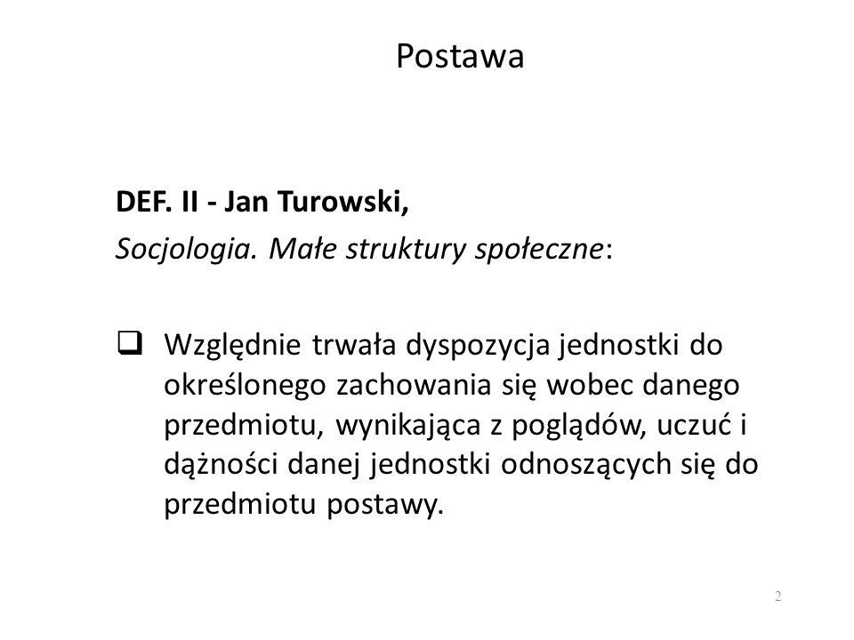 2 Postawa DEF. II - Jan Turowski, Socjologia. Małe struktury społeczne: Względnie trwała dyspozycja jednostki do określonego zachowania się wobec dane