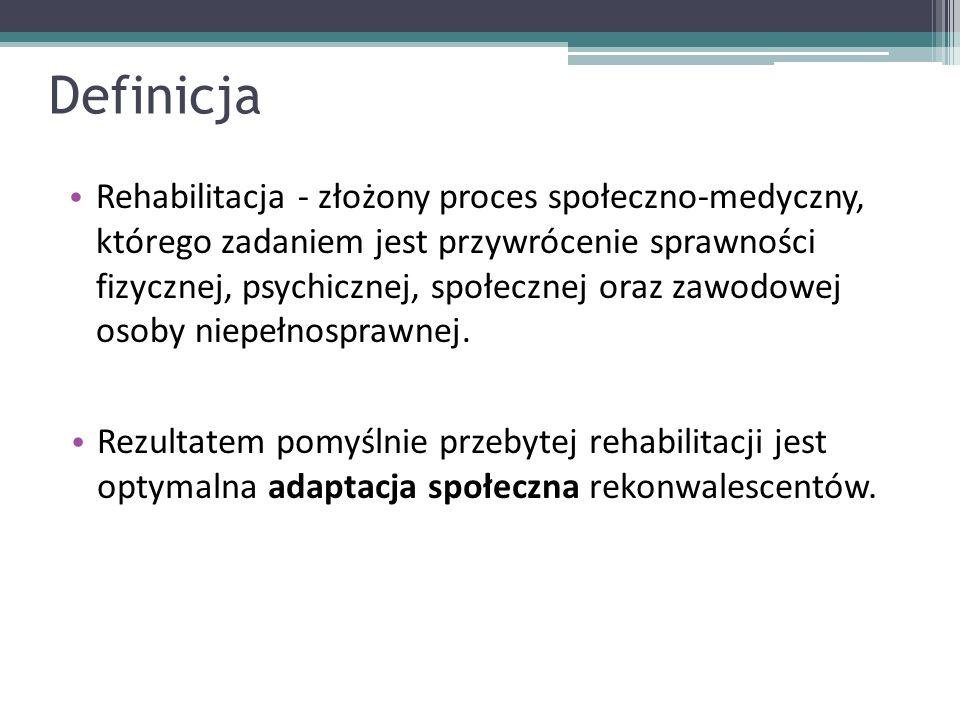 Definicja Rehabilitacja - złożony proces społeczno-medyczny, którego zadaniem jest przywrócenie sprawności fizycznej, psychicznej, społecznej oraz zaw