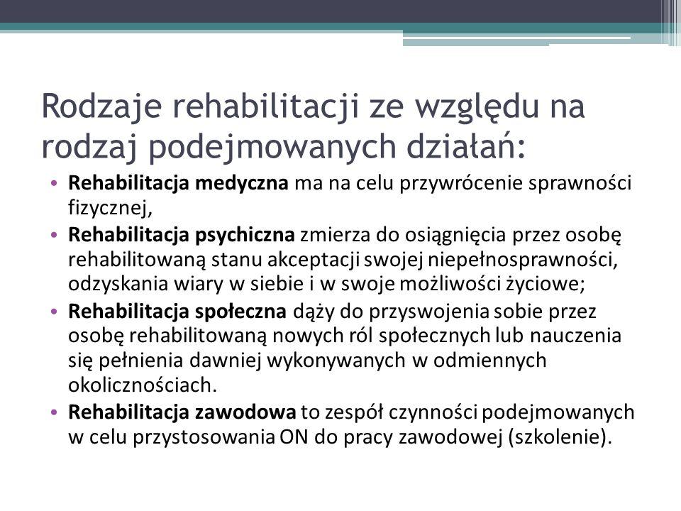 Rodzaje rehabilitacji ze względu na rodzaj podejmowanych działań: Rehabilitacja medyczna ma na celu przywrócenie sprawności fizycznej, Rehabilitacja psychiczna zmierza do osiągnięcia przez osobę rehabilitowaną stanu akceptacji swojej niepełnosprawności, odzyskania wiary w siebie i w swoje możliwości życiowe; Rehabilitacja społeczna dąży do przyswojenia sobie przez osobę rehabilitowaną nowych ról społecznych lub nauczenia się pełnienia dawniej wykonywanych w odmiennych okolicznościach.