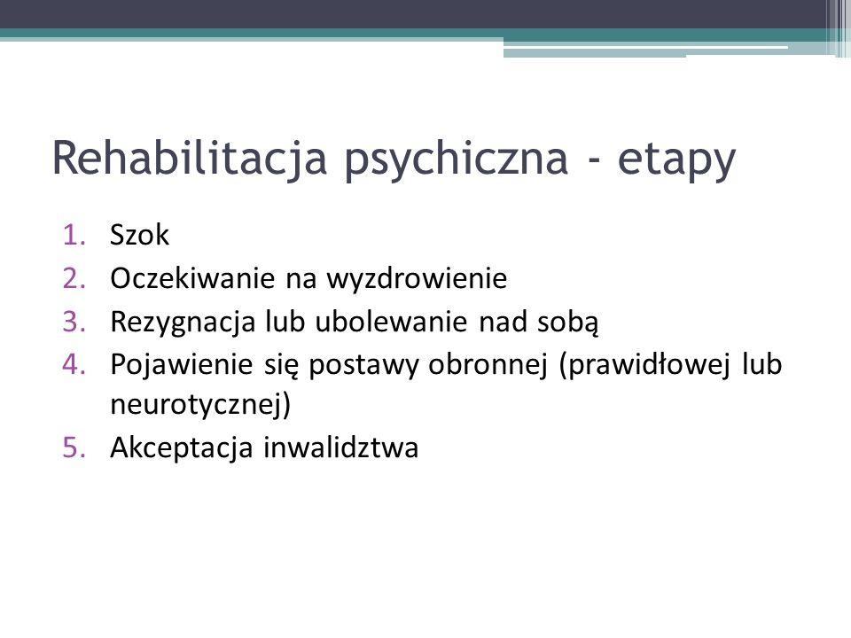 Rehabilitacja psychiczna - etapy 1.Szok 2.Oczekiwanie na wyzdrowienie 3.Rezygnacja lub ubolewanie nad sobą 4.Pojawienie się postawy obronnej (prawidłowej lub neurotycznej) 5.Akceptacja inwalidztwa