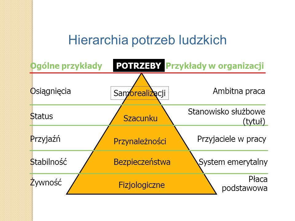 Fizjologiczne Bezpieczeństwa Przynależności Szacunku Samorealizacji Osiągnięcia Status Przyjaźń Stabilność Żywność Ambitna praca Stanowisko służbowe (