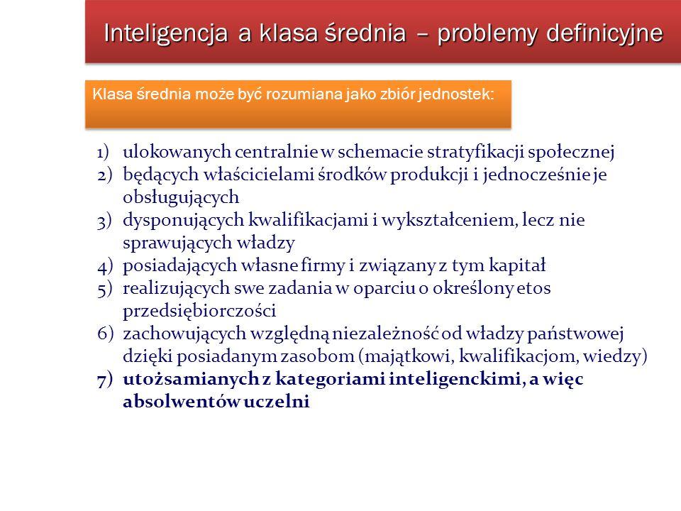 Inteligencja a klasa średnia – problemy definicyjne Klasa średnia może być rozumiana jako zbiór jednostek: 1)ulokowanych centralnie w schemacie straty