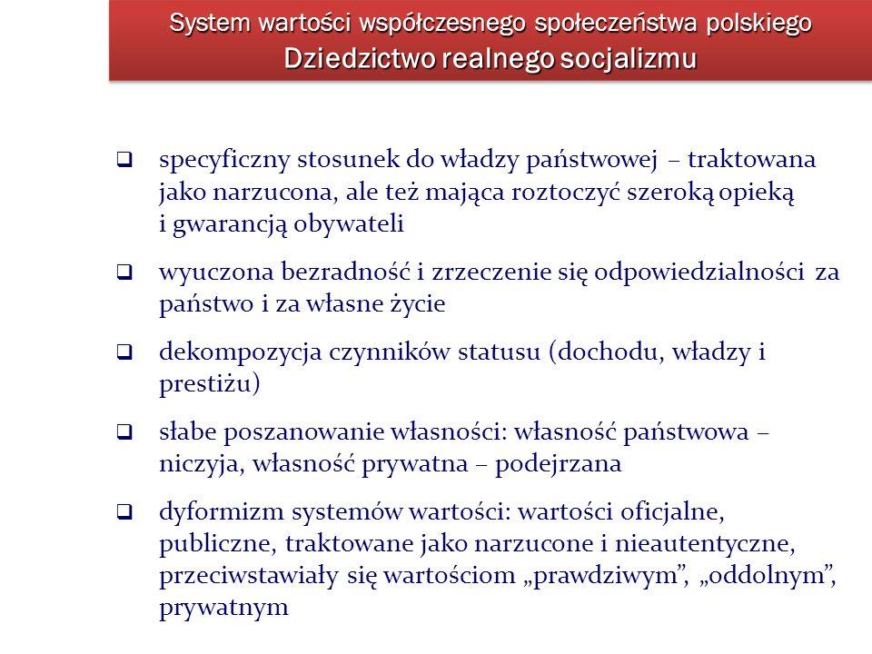 System wartości współczesnego społeczeństwa polskiego Dziedzictwo realnego socjalizmu specyficzny stosunek do władzy państwowej – traktowana jako narz